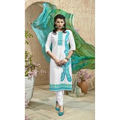 Cotton Jacquard Off White Salwar Suit Dress Material - 16498