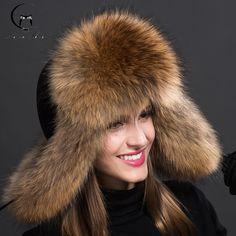 bba495b62a9 russian fur hats for women fashion winter warm genuine ladies bomber cap  female headgear raccoon fur ball hat fow women