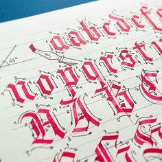 Calligraphy by @jackdzn - ✒ Still working on my workshop's workbook. Time to Textura Quadrata Blackletter ;) #calligraphy #workshop #lettering #typography #workbook #tutorial #alphabet #alphabets #ductus #calligraphymasters #caligrafia #talnts #instalove #instabeauty