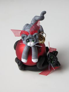 Polymer Clay Cats Christmas Ornament Black and by HeartOfClayGirl, $25.00