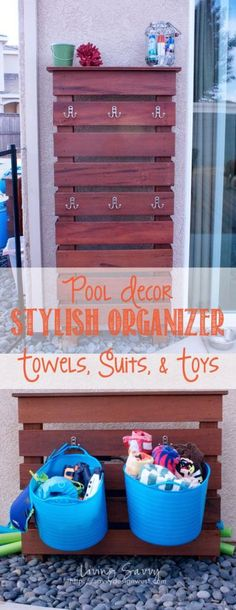 Looking for pool storage ideas? It's hot! If you have a pool, I bet it's getting a lot of use now. Here are awesome pool storage ideas to keep it organized! Pool Toy Storage, Beach Towel Storage, Outdoor Toy Storage, Outdoor Toys, Storage Rack, Outdoor Ideas, Pool Towel Hooks, Towel Racks, Pool Organization