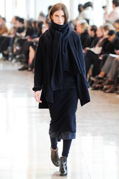 "Fall 2014 Ready-to-Wear - Christophe Lemaire: I want to remember this idea, putting a knit skirt or dress over a woven cloth skirt ""petticoat""."