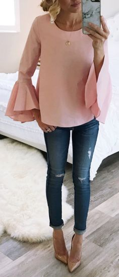 #spring #fashionPink Ruffle Sleeve Top & Ripped Skinny Jeans & Nude Pumps