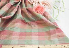 """44""""+Silk+Dupioni,+Plaid,+Celedon,+Coral,+Peach+(L-2)+(10-1-17) Coral, Peach, Silk, Detail, Sewing, Fashion, Moda, Peaches, Dressmaking"""