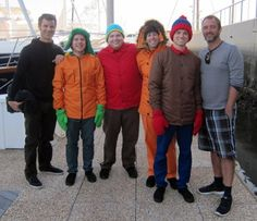 Matt and Trey with the real-life South Park boys ♥ South Park Cosplay, South Park Fanart, Trey Parker Matt Stone, Stan South Park, Movie Bloopers, Kyle Broflovski, Stan Marsh, Eric Cartman, Middle Aged Man
