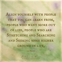 align yourself with people who you can learn from // les brown