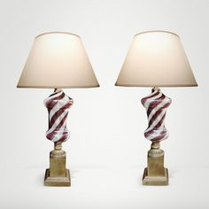 A Striking Pair of Italian Mid-Century 'Dino Martens' for Aureliano Toso Mezza Filigrana Lamps with Gold Aventurine Stripes 1950's. http://www.epocasf.com/node/9155 #vintage #retro #fifties  #interiors #dinomartens #AurelianoToso #MezzaFiligrana #midcenturymodern #1950s #italy #pair #murano #artglass #lamps #20thcentury #hollywoodregency #midcentury #modern #interiordesign #SF #sanfrancisco #homedecor
