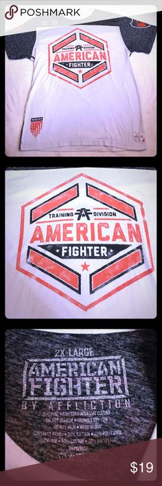 American Fighter Affliction Tee American Fighter men's Tshirt by Affliction. In great condition. It is a size 2XL. It has black stitching along the sides as shown in photos. Affliction Shirts Tees - Short Sleeve