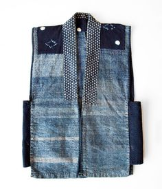 "Japanese Indigo Boro Vest boro_kimono Boro is a Japanese word meaning ""tattered rags"" and it's the term commonly used to describe patched and repaired cotton bedding and clothing lovingly used much longer than the normally expected life cycle. Gilet Kimono, A Well Traveled Woman, Denim Ideas, Japanese Textiles, Japanese Fabric, Vest Pattern, Japanese Outfits, Boro, Sewing Clothes"