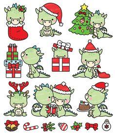 Super Ideas For Children Art Prints Christmas Cards Christmas Dragon, Christmas Art, Christmas Doodles, Christmas Clipart, Kawaii Doodles, Cute Dragons, Vector Clipart, Christmas Animals, Kawaii Drawings