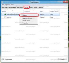 HOW TO ENABLE OR DISABLE STARTUP PROGRAM USING TASK MANAGER IN WINDOWS 8  read more here  http://www.cyberkey.in/2012/03/how-to-enable-or-disable-startup.html