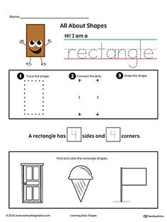 All About Rectangle Shapes in Color Worksheet.Learn all about the rectangle shape in this printable worksheet. Practice tracing, drawing, and coloring pictures of rectangle shapes.