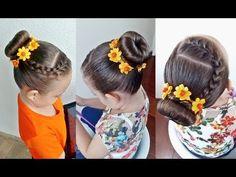 Penteado Infantil rápido com trança raíz e coque rosquinha - YouTube