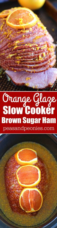 Slow Cooker Brown Sugar Ham with Orange Glaze is an amazingly flavorful and refreshing way to easily cook ham to juicy perfection in your slow cooker. #ad