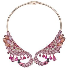 Betsey Johnson Pink Flamingo Hinge Collar Necklace (Pink) Necklace (€120) ❤ liked on Polyvore featuring jewelry, necklaces, collar necklaces, pearl bead necklace, pearl pendant necklace, choker necklaces and pink bead necklace