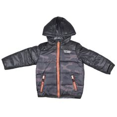 Osh Kosh Boys Hooded Camo Print Bubble Jacket Child's camo bubble jacket. Materials: 100-percent polyester. Machine washable. Pockets: Two (2). Closure: Front zipper.