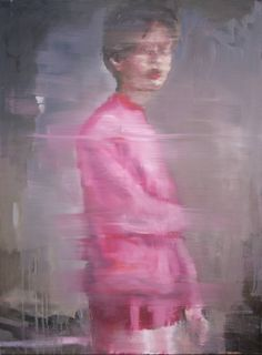 The pink pullover, a Oil on Canvas by Pauline Zenk from France. It portrays: Portrait, relevant to: morning, pink pullover, red lips, the look, light A person standing close to the window in the morning. She is wearing a very pink pullover that reflects the light.