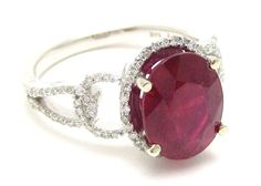 Oval cut rich RED RUBY & Diamonds engagement by ninaellejewels, $3215.00