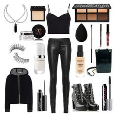 """Ootd 29.9.16 - edgy, alternative, rock, emo, summer, leather ( + full face makeup)"" by emilygrande ❤ liked on Polyvore featuring Alexander Wang, rag & bone/JEAN, Chanel, Diesel, T By Alexander Wang, Marc Jacobs, Smashbox, beautyblender, NARS Cosmetics and Kat Von D"