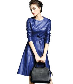 Miss Cookies Womens Faux Leather Fashion Midi Bodycon A-Line Dress With Belted - best woman's fashion products designed to provide Rockabilly, Fashion Week 2018, Faux Leather Dress, Midi Cocktail Dress, Women's Fashion Dresses, Woman Dresses, Clubwear, Leather Fashion, Fit And Flare