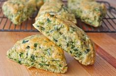 A savory scone that's loaded with spinach, artichokes and cheese. They taste just like a fresh chunk of bread that's been dipped in some cheesy spinach artichoke dip!