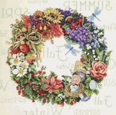 Gallery.ru / Фото #17 - Часы, венки - Natakoch Cross Stitch Gallery, Cross Stitch Books, Cross Stitch Flowers, Cross Stitch Charts, Cross Stitch Patterns, Embroidery Art, Cross Stitch Embroidery, Wreath Watercolor, Crochet Cross