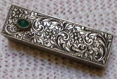 Italian jeweled hand engraved sterling silver Lipstick case.