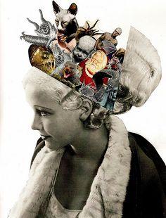 'Hidden Thoughts' collage by Lynn Skordal Collage Kunst, Art Du Collage, Mixed Media Collage, Dream Collage, Flower Collage, Collage Design, Photomontage, Dadaism Art, Arte Sketchbook