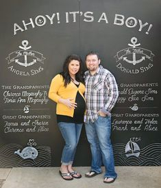 Chalkboard Photo Backdrop - Ahoy! Its a Boy! Nautical Baby Shower