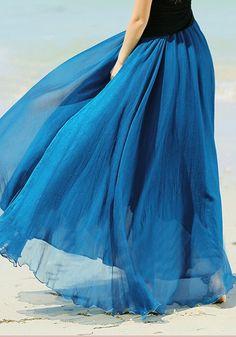 (DON'T SHOP FROM HERE) Peacock Blue Plain Draped Wavy Edge Bohemian Chiffon Skirt