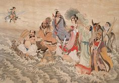 """When the Eight Genii Crossed the Sea, Each of Them Displayed His / Her Prowess - Chinese Myths – """"The """"eight immortals"""" are from Taoist mythology and among the best known deities. They are the symbols for good fortune throughout China. Chinese Painting, Chinese Art, Chinese Style, Religion, Journey To The West, Chinese Mythology, Legends And Myths, Taoism, Beautiful Fantasy Art"""