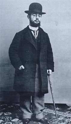 """""""Henri de Toulouse-Lautrec (Château Malromé  1864 - 1901)."""" French painter, printmaker, draughtsman, and illustrator. Known as one of the greatest painters of the Post-Impressionist period.  Member of an aristocratic family, his father and mother were first cousins and Henri suffered from a number of congenital health conditions attributed to this inbreeding. An alcoholic for most of his life, he died from complications due to alcoholism and syphilis at the family estate in Malromé."""