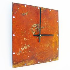 """Square Wall Clock I Rusted Metal Steel Rustic Country Home Decor Analog Orange 9""""x9"""" Numberless Clock by All15Designs on Etsy"""