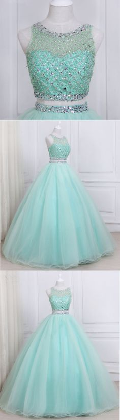 Dresses - Stylish mint tulle two piece long homecoming dress, long beaded evening dresses prom dress promdress promdresses Homecoming Dresses Long, Pretty Prom Dresses, Sweet 16 Dresses, Grad Dresses, 15 Dresses, Ball Dresses, Cute Dresses, Evening Dresses, Beautiful Dresses