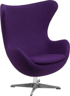 The model egg chair from Flash Furniture features a purple wool fabric upholstery and tilt lock mechanism. Inspired by Arne Jacobsen, the retro egg chair is sure to impress. Pink Desk Chair, Purple Chair, Diy Chair, Chair Fabric, Sofa Chair, Swivel Chair, Chair Cushions, Wool Fabric, Chair Pads
