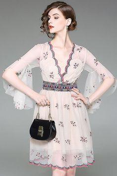 Sexy V-Neck Ruffle Sleeve Mesh Embroidery Dress