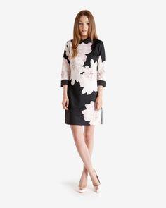 Monochrome Floral shift dress - Black   Dresses   Ted Baker