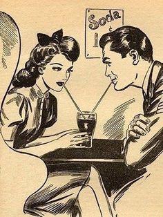 50s Rockabilly Couple at a Milkshake Diner