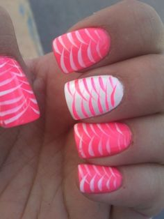 Pink is girly color and with pink nail polish, you can look more girly and gorgeous. There are many many pink nail art designs that you could try on. Pink White Nails, Cute Pink Nails, Pink Nail Art, Blue Nail, Neon Nails, Fancy Nails, Love Nails, Pretty Nails, My Nails