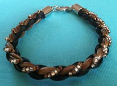 Brown and Black Horse Hair Bracelet Braided with Gold and Silver Beading | eBay