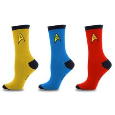 Star Trek Uniform Socks -- Command - Science - Engineering -- Set Of 3 Pairs (Unisex Adult) Star Trek Merchandise, Star Trek Uniforms, Star Trek Original Series, Funky Socks, Novelty Socks, Crew Socks, Rubber Rain Boots, Traveling By Yourself, Pairs