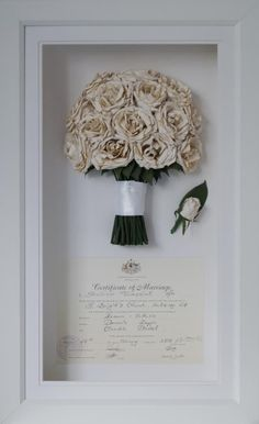 White rose wedding bouquet preserved and framed with wedding certificate. Dried wedding bouquet White rose wedding bouquet preserved and framed with wedding certificate. White Roses Wedding, Rose Wedding Bouquet, Wedding Flowers, Preserve Wedding Bouquets, Preserve Bouquet, Bridal Bouquet Diy, Winter Wedding Bouquets, White Rose Bouquet, Bouquet Toss