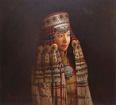 """""""Mongolian Bride,"""" by Dongmin Lai  20 x 22 - oil - Repinned by Merry Tree Lane"""