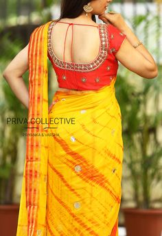 PV 3524 : Mustard Yellow and RedPrice : 5600RsFlaunt this lovely drape in mustard yellow and red shibori printed sari with faux mirror work all over and finished with gold zariUnstitched blouse piece - Red mirror work blouse piece as shown in the pictureFor Order 04 October 2017
