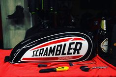 we are working day 'n' night. Our Scrambler for the will be ready tomorrow! Tracker Motorcycle, Motorcycle Paint Jobs, Motorcycle Tank, Cafe Racer Parts, Cafe Racer Honda, Tank Design, Bike Design, Ducati Scrambler Urban Enduro, Motor Scrambler