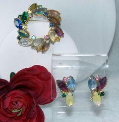 #vintagejewelry VINTAGE JULIANA Fruit Salad Brooch & Earrings Set! Gold tone for sale