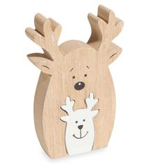 2 figuritas de renos de madera natural y blanca