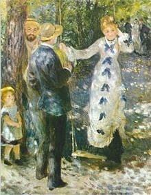 """11.""""La Balançoire""""(1876) realizado a óleo sobre lienzo(92 x 73 cm) es una obra pictórica de Renoir perteneciente al Impresionismo.  En ella,  se transmite la belleza de su cuerpo y rostro a través de los puntos de luz dejando atrás sus formas. Museo: Musée d´Orsay, París, Francia"""