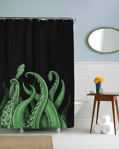 Tentacles BLACK Shower Curtain in this house we by CrazyDogTshirts