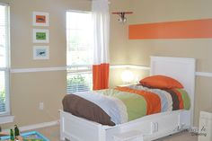 Boys Bedroom Orange Accents #boy #bedroom #orange